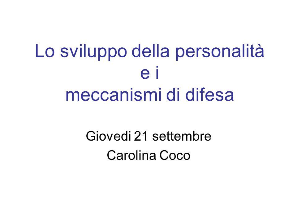 Lo sviluppo della personalità e i meccanismi di difesa Giovedi 21 settembre Carolina Coco