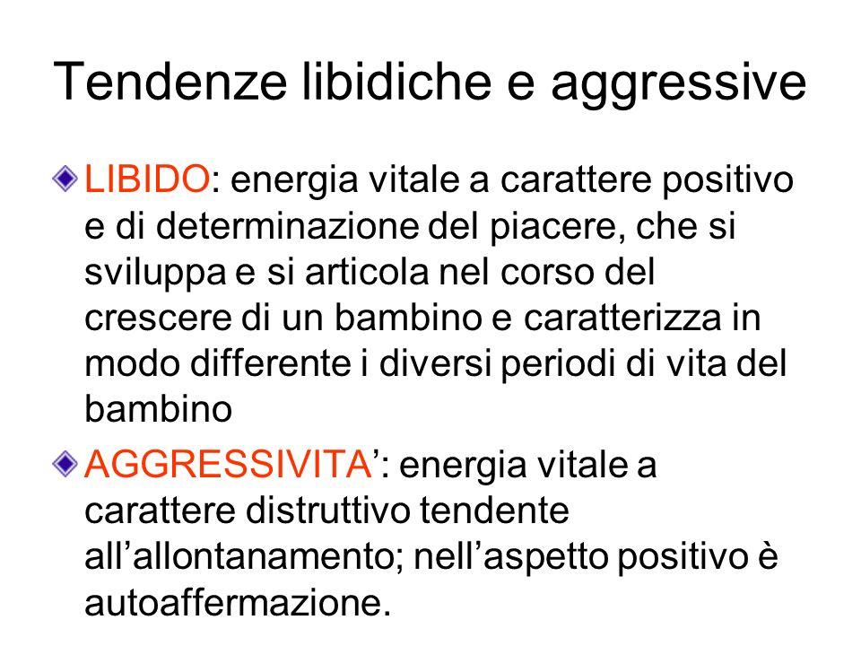 Tendenze libidiche e aggressive LIBIDO: energia vitale a carattere positivo e di determinazione del piacere, che si sviluppa e si articola nel corso d