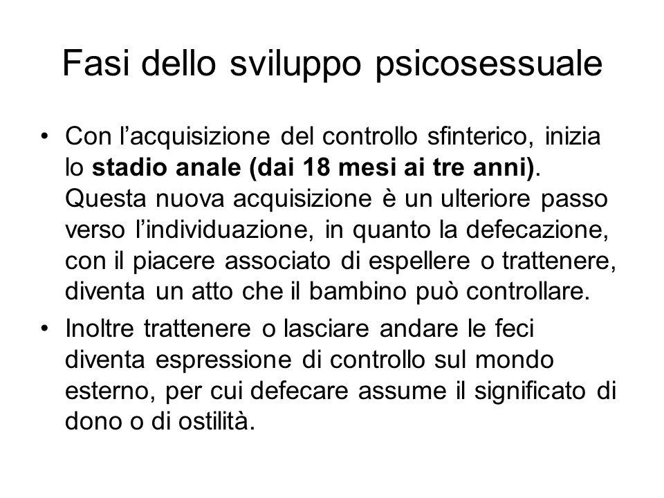 Fasi dello sviluppo psicosessuale Con lacquisizione del controllo sfinterico, inizia lo stadio anale (dai 18 mesi ai tre anni). Questa nuova acquisizi