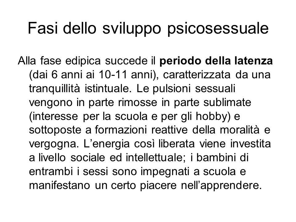 Fasi dello sviluppo psicosessuale Alla fase edipica succede il periodo della latenza (dai 6 anni ai 10-11 anni), caratterizzata da una tranquillità is