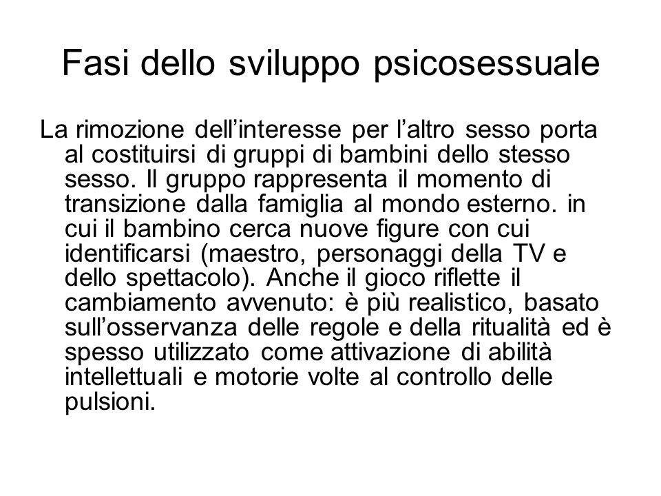 Fasi dello sviluppo psicosessuale La rimozione dellinteresse per laltro sesso porta al costituirsi di gruppi di bambini dello stesso sesso. Il gruppo