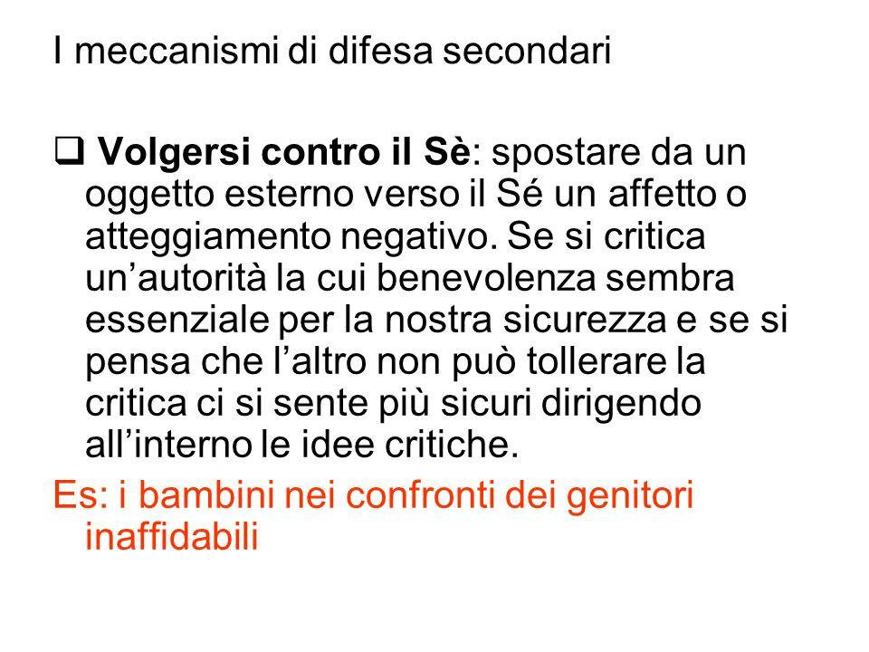 I meccanismi di difesa secondari Volgersi contro il Sè: spostare da un oggetto esterno verso il Sé un affetto o atteggiamento negativo. Se si critica