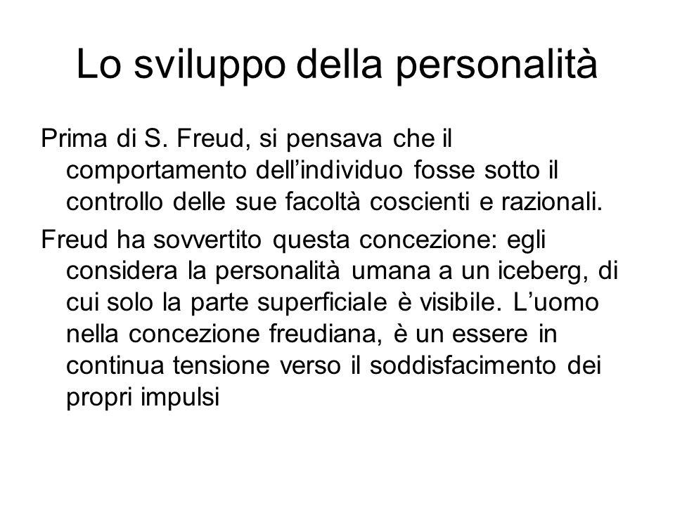 Lo sviluppo della personalità Prima di S. Freud, si pensava che il comportamento dellindividuo fosse sotto il controllo delle sue facoltà coscienti e