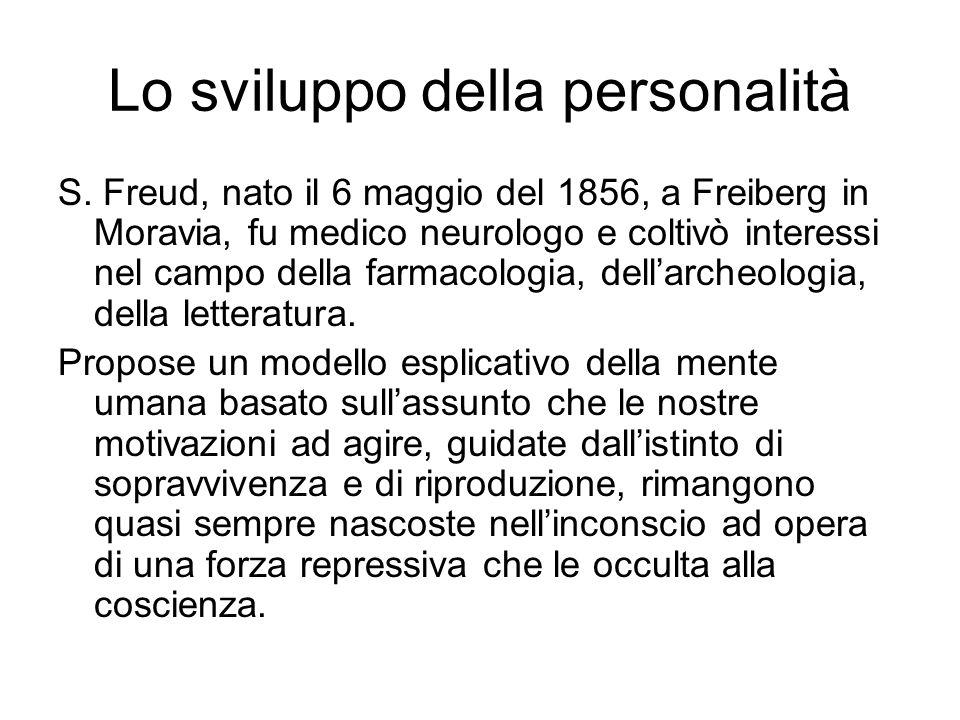 Lo sviluppo della personalità S. Freud, nato il 6 maggio del 1856, a Freiberg in Moravia, fu medico neurologo e coltivò interessi nel campo della farm