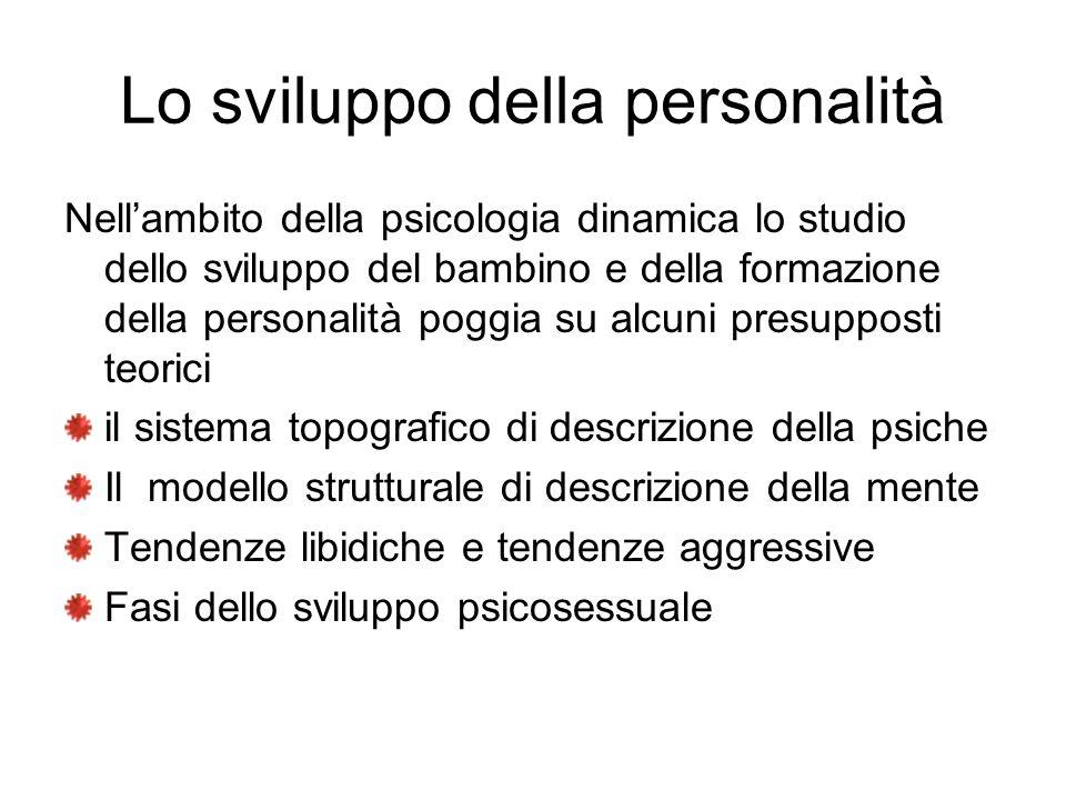 Lo sviluppo della personalità Nellambito della psicologia dinamica lo studio dello sviluppo del bambino e della formazione della personalità poggia su
