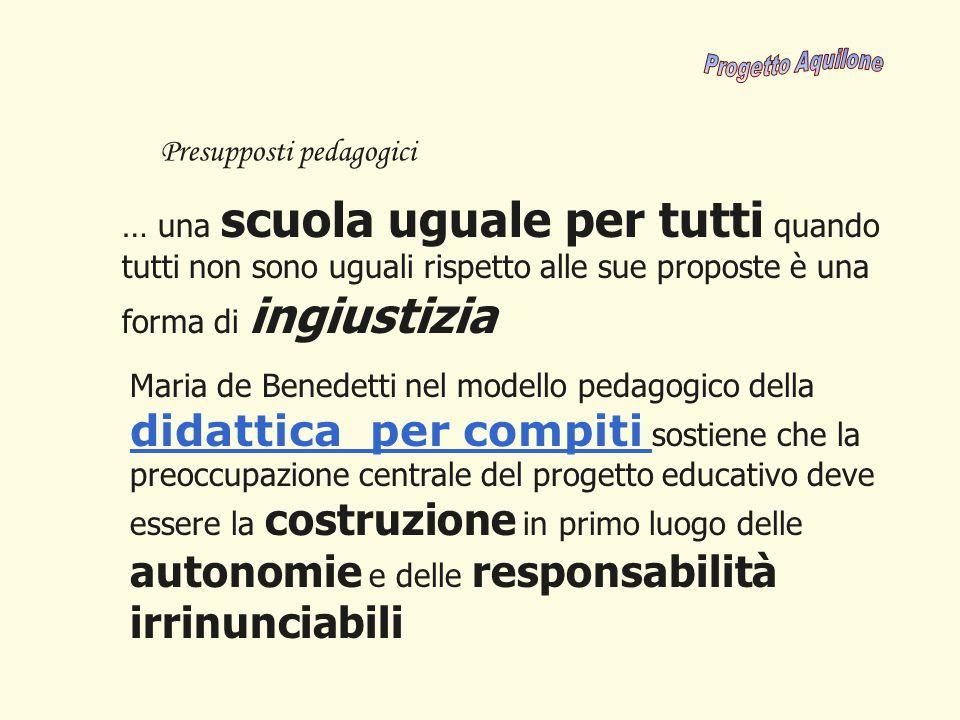… una scuola uguale per tutti quando tutti non sono uguali rispetto alle sue proposte è una forma di ingiustizia Presupposti pedagogici Maria de Bened