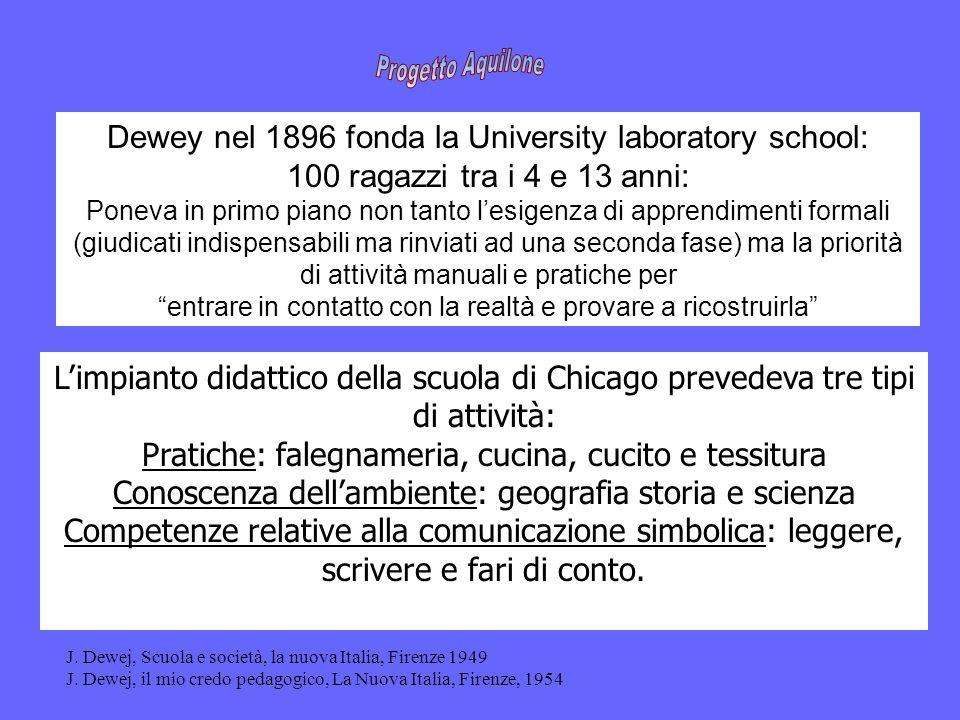 Dewey nel 1896 fonda la University laboratory school: 100 ragazzi tra i 4 e 13 anni: Poneva in primo piano non tanto lesigenza di apprendimenti formal