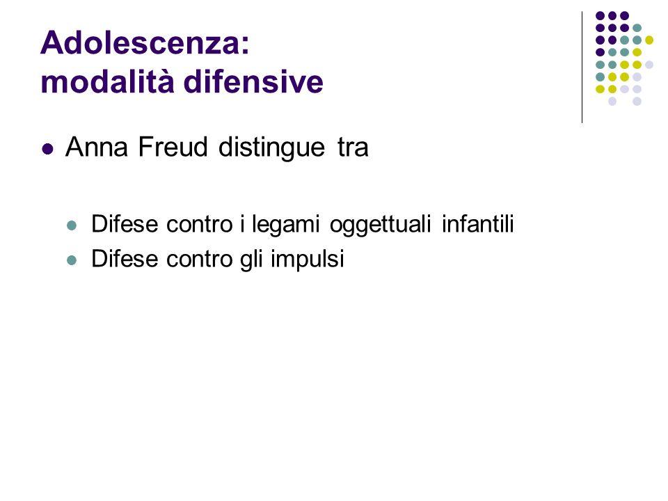 Adolescenza: modalità difensive Anna Freud distingue tra Difese contro i legami oggettuali infantili Difese contro gli impulsi