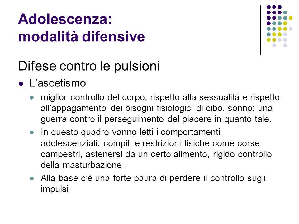 Adolescenza: modalità difensive Difese contro le pulsioni Lascetismo miglior controllo del corpo, rispetto alla sessualità e rispetto allappagamento d