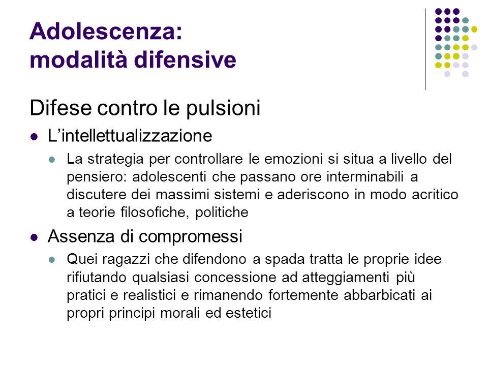 Adolescenza: modalità difensive Difese contro le pulsioni Lintellettualizzazione La strategia per controllare le emozioni si situa a livello del pensi
