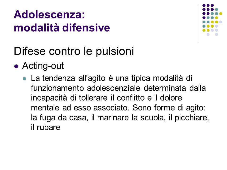 Adolescenza: modalità difensive Difese contro le pulsioni Acting-out La tendenza allagito è una tipica modalità di funzionamento adolescenziale determ