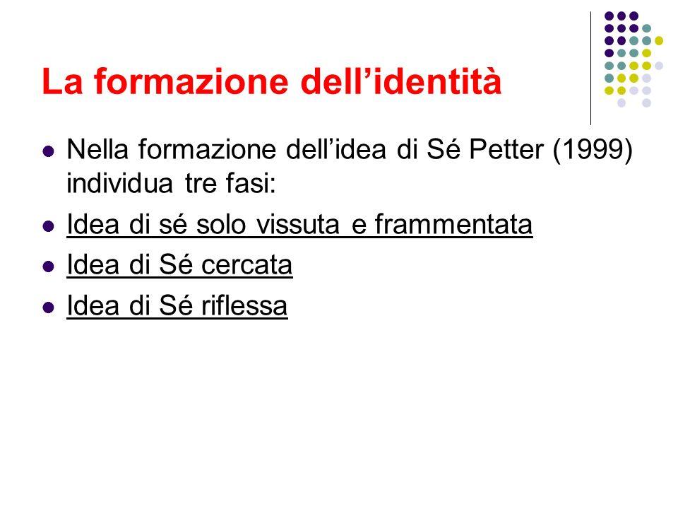 La formazione dellidentità Nella formazione dellidea di Sé Petter (1999) individua tre fasi: Idea di sé solo vissuta e frammentata Idea di Sé cercata