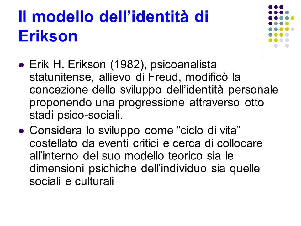 Il modello dellidentità di Erikson Erik H. Erikson (1982), psicoanalista statunitense, allievo di Freud, modificò la concezione dello sviluppo dellide