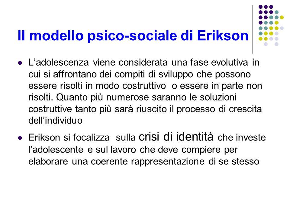 Il modello psico-sociale di Erikson Ladolescenza viene considerata una fase evolutiva in cui si affrontano dei compiti di sviluppo che possono essere