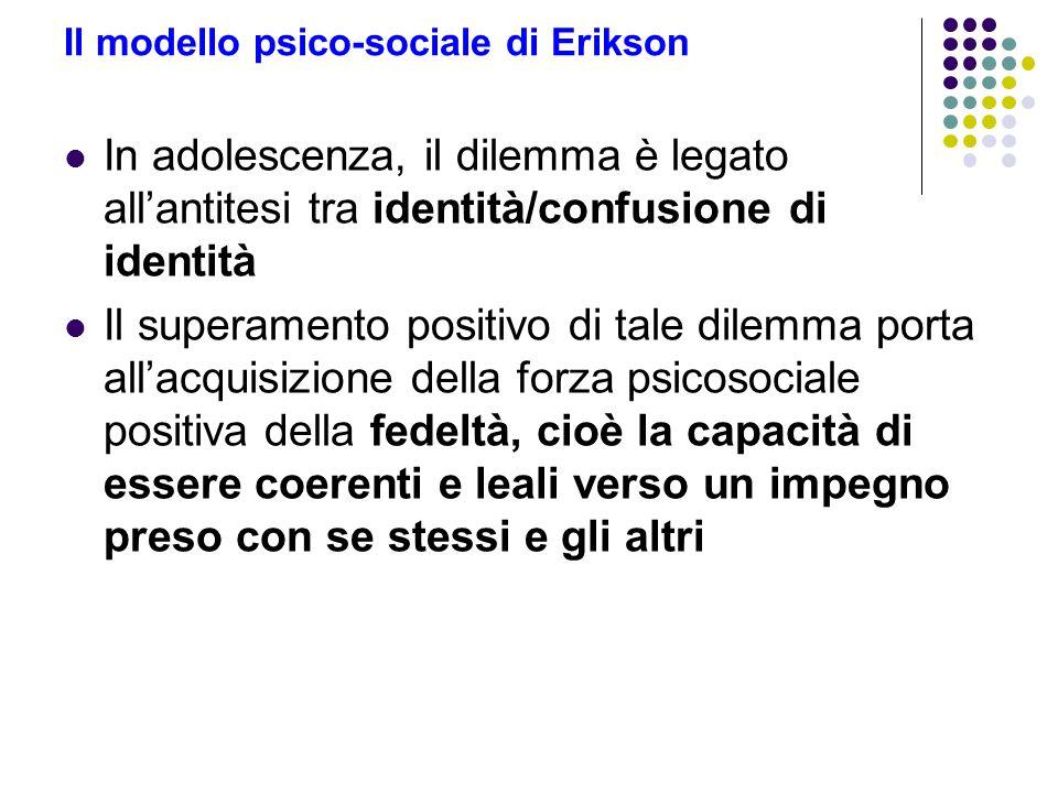 Il modello psico-sociale di Erikson In adolescenza, il dilemma è legato allantitesi tra identità/confusione di identità Il superamento positivo di tal