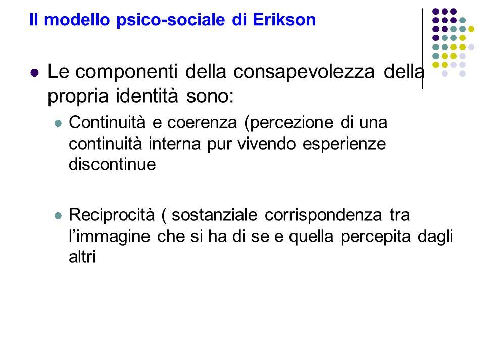 Il modello psico-sociale di Erikson Le componenti della consapevolezza della propria identità sono: Continuità e coerenza (percezione di una continuit