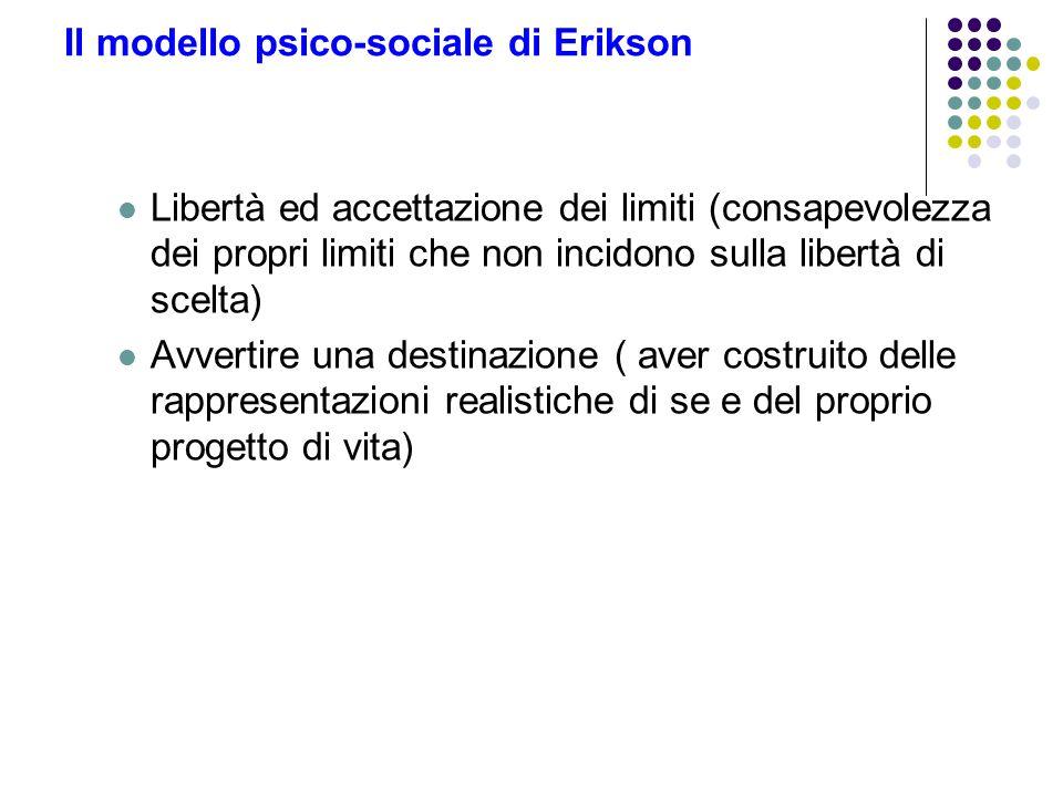 Il modello psico-sociale di Erikson Libertà ed accettazione dei limiti (consapevolezza dei propri limiti che non incidono sulla libertà di scelta) Avv