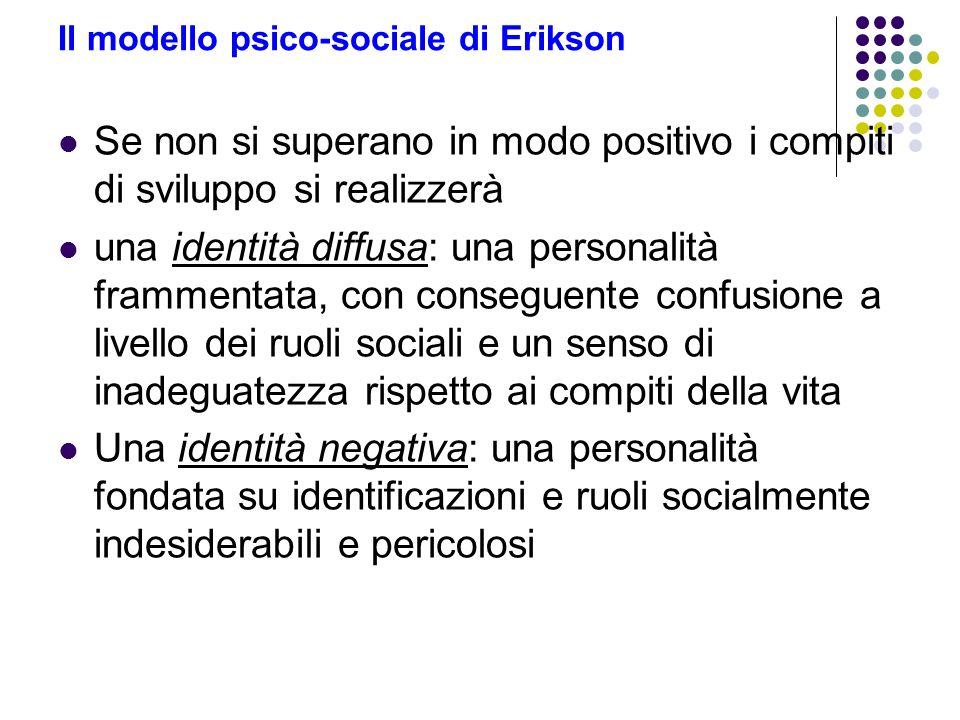 Il modello psico-sociale di Erikson Se non si superano in modo positivo i compiti di sviluppo si realizzerà una identità diffusa: una personalità fram