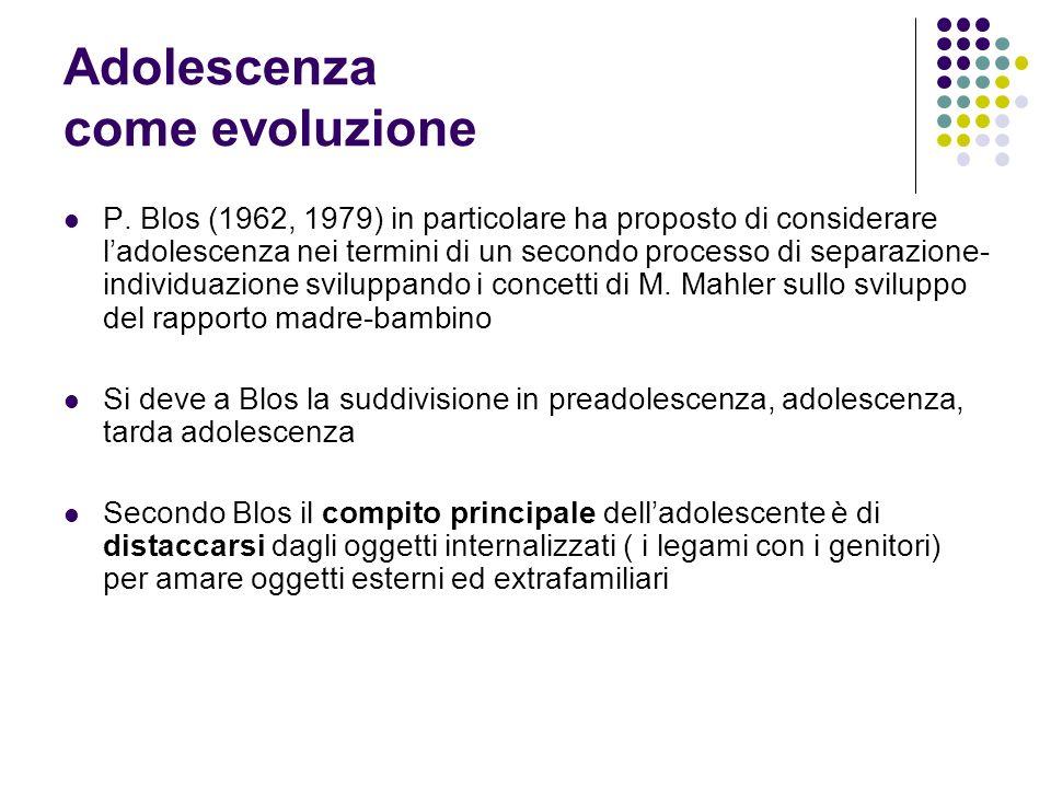 Adolescenza come evoluzione P. Blos (1962, 1979) in particolare ha proposto di considerare ladolescenza nei termini di un secondo processo di separazi
