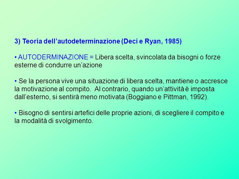 3) Teoria dellautodeterminazione (Deci e Ryan, 1985) AUTODERMINAZIONE = Libera scelta, svincolata da bisogni o forze esterne di condurre unazione Se la persona vive una situazione di libera scelta, mantiene o accresce la motivazione al compito.