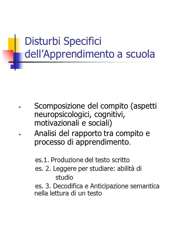 Disturbi Specifici dellApprendimento a scuola Scomposizione del compito (aspetti neuropsicologici, cognitivi, motivazionali e sociali) Analisi del rap