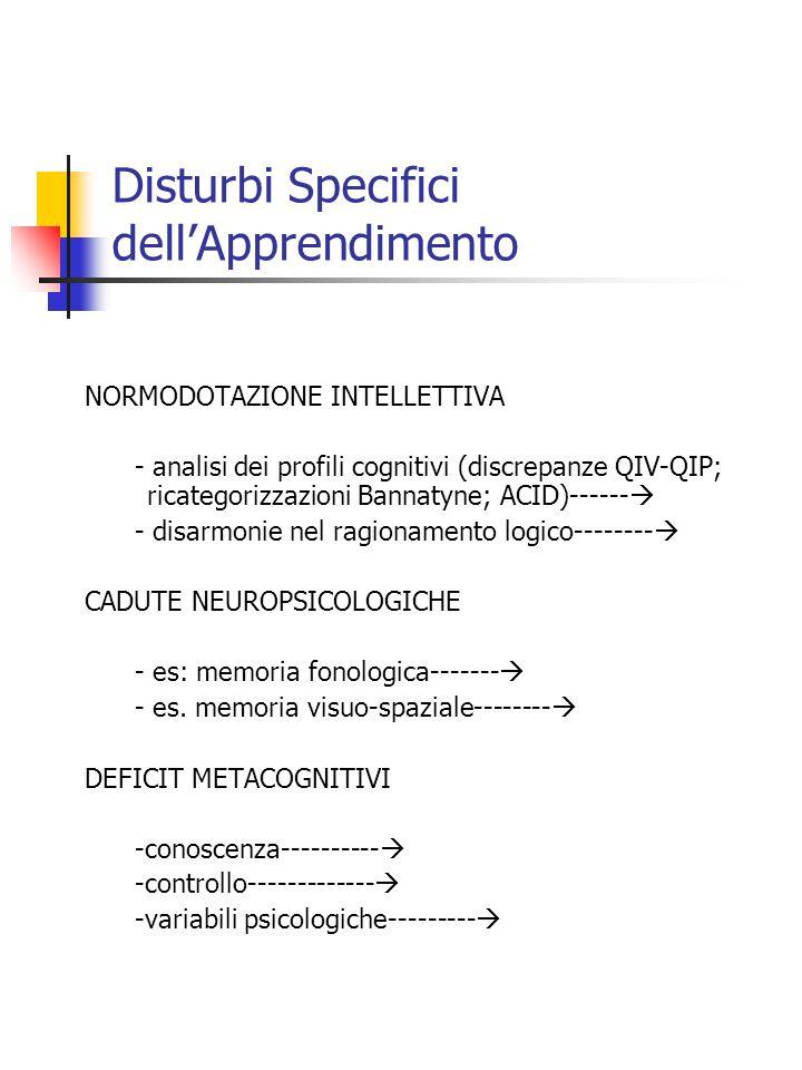 Disturbi Specifici dellApprendimento NORMODOTAZIONE INTELLETTIVA - analisi dei profili cognitivi (discrepanze QIV-QIP; ricategorizzazioni Bannatyne; A