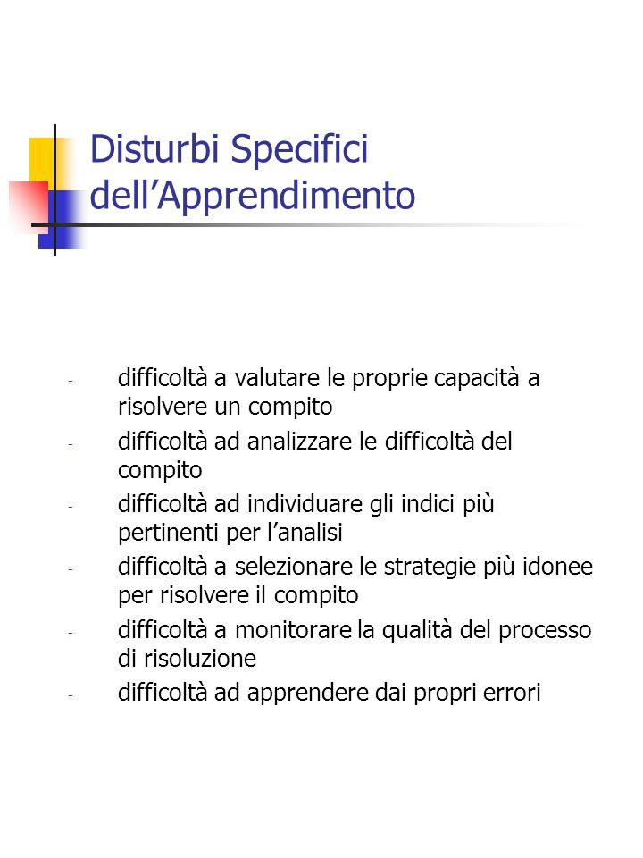 Disturbi Specifici dellApprendimento - difficoltà a valutare le proprie capacità a risolvere un compito - difficoltà ad analizzare le difficoltà del c