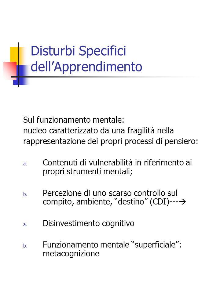 Disturbi Specifici dellApprendimento Sul funzionamento mentale: nucleo caratterizzato da una fragilità nella rappresentazione dei propri processi di p
