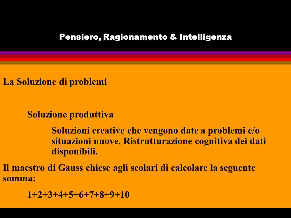 Pensiero, Ragionamento & Intelligenza La Soluzione di problemi Soluzione produttiva Soluzioni creative che vengono date a problemi e/o situazioni nuove.