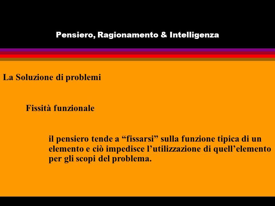 Pensiero, Ragionamento & Intelligenza La Soluzione di problemi Fissità funzionale il pensiero tende a fissarsi sulla funzione tipica di un elemento e ciò impedisce lutilizzazione di quellelemento per gli scopi del problema.