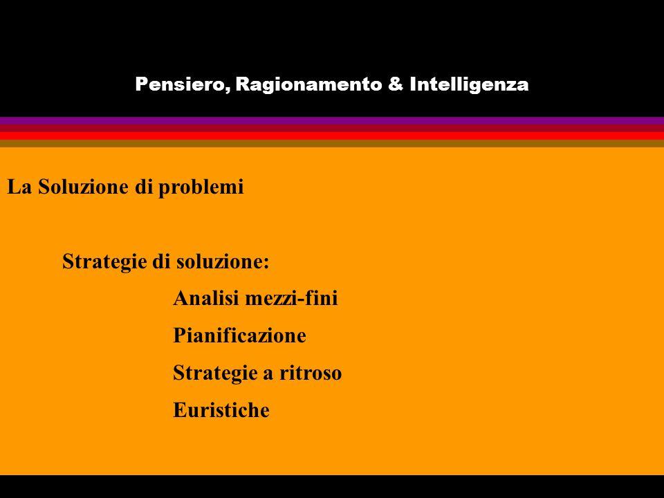 Pensiero, Ragionamento & Intelligenza La Soluzione di problemi Strategie di soluzione: Analisi mezzi-fini Pianificazione Strategie a ritroso Euristiche
