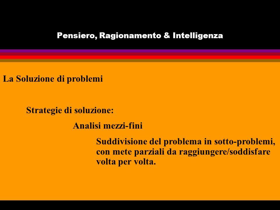 Pensiero, Ragionamento & Intelligenza La Soluzione di problemi Strategie di soluzione: Analisi mezzi-fini Suddivisione del problema in sotto-problemi, con mete parziali da raggiungere/soddisfare volta per volta.
