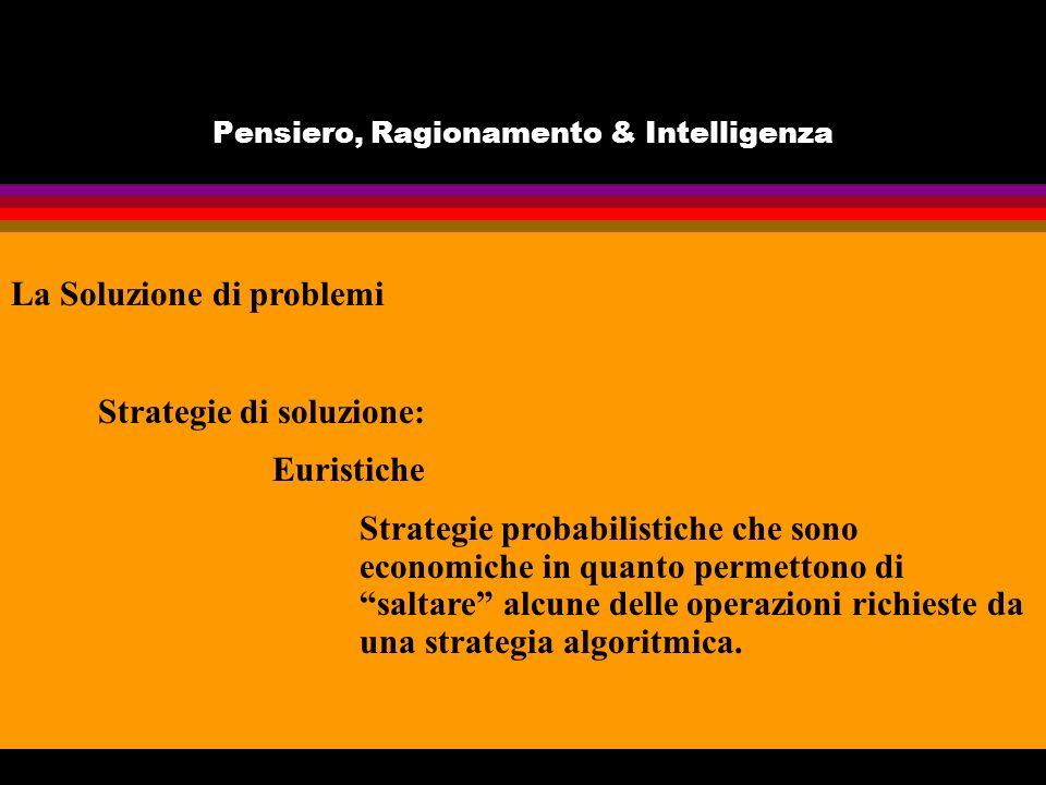 Pensiero, Ragionamento & Intelligenza La Soluzione di problemi Strategie di soluzione: Euristiche Strategie probabilistiche che sono economiche in quanto permettono di saltare alcune delle operazioni richieste da una strategia algoritmica.