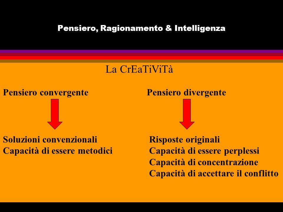Pensiero, Ragionamento & Intelligenza La CrEaTiViTà Pensiero convergente Pensiero divergente Soluzioni convenzionali Capacità di essere metodici Risposte originali Capacità di essere perplessi Capacità di concentrazione Capacità di accettare il conflitto