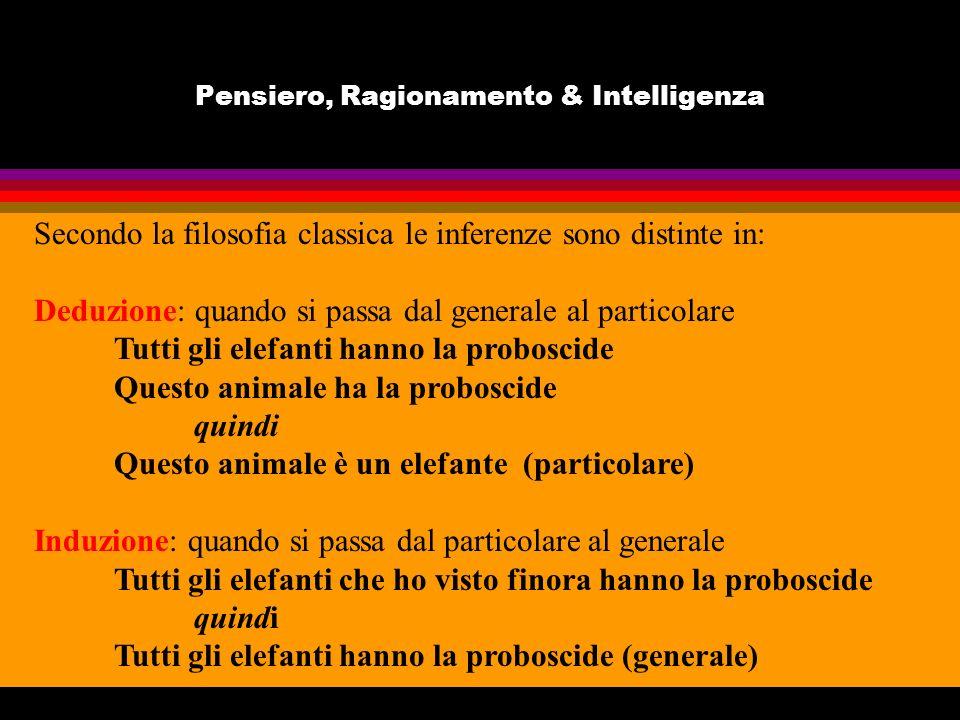 Pensiero, Ragionamento & Intelligenza Secondo la filosofia classica le inferenze sono distinte in: Deduzione: quando si passa dal generale al particol
