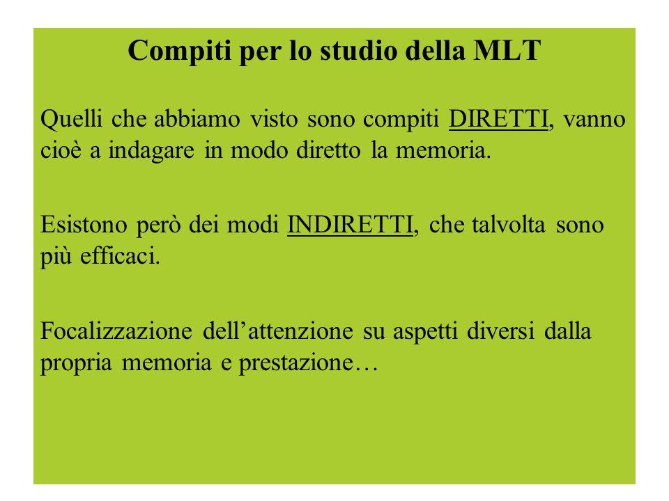 Compiti per lo studio della MLT Quelli che abbiamo visto sono compiti DIRETTI, vanno cioè a indagare in modo diretto la memoria. Esistono però dei mod