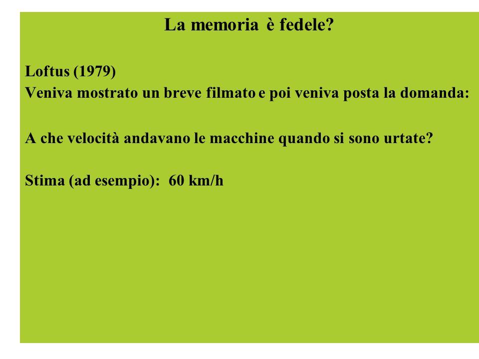 La memoria è fedele? Loftus (1979) Veniva mostrato un breve filmato e poi veniva posta la domanda: A che velocità andavano le macchine quando si sono