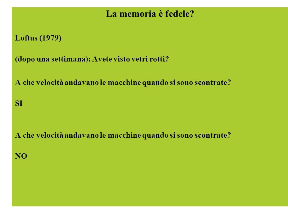 La memoria è fedele? Loftus (1979) (dopo una settimana): Avete visto vetri rotti? A che velocità andavano le macchine quando si sono scontrate? SI A c