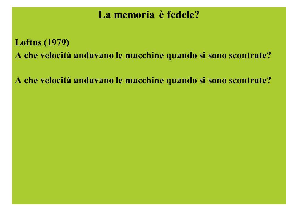 La memoria è fedele? Loftus (1979) A che velocità andavano le macchine quando si sono scontrate?
