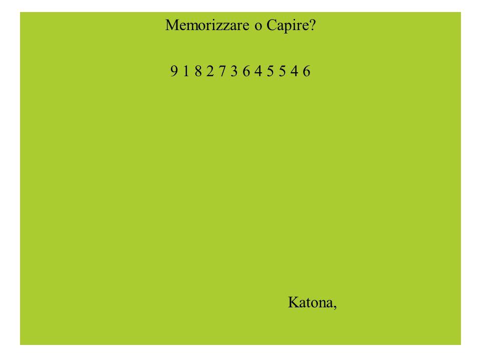 Memorizzare o Capire? 9 1 8 2 7 3 6 4 5 5 4 6 Katona,