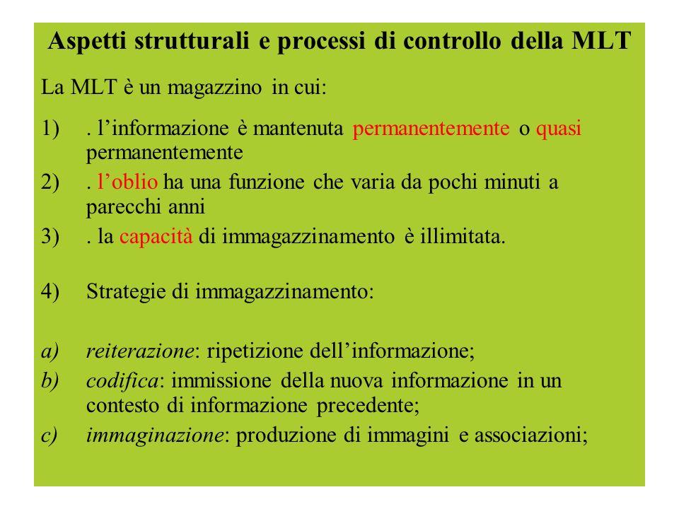 Aspetti strutturali e processi di controllo della MLT La MLT è un magazzino in cui: 1). linformazione è mantenuta permanentemente o quasi permanenteme