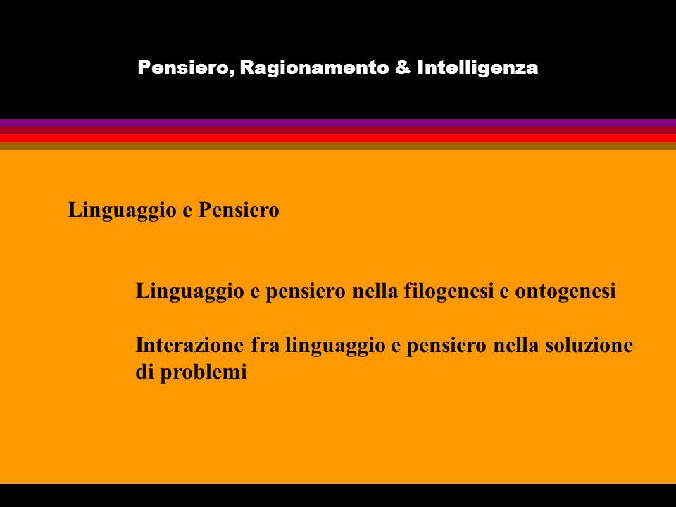 Pensiero, Ragionamento & Intelligenza Linguaggio e Pensiero Linguaggio e pensiero nella filogenesi e ontogenesi Interazione fra linguaggio e pensiero