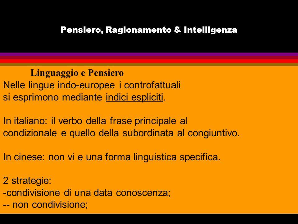 Pensiero, Ragionamento & Intelligenza Linguaggio e Pensiero Nelle lingue indo-europee i controfattuali si esprimono mediante indici espliciti. In ital