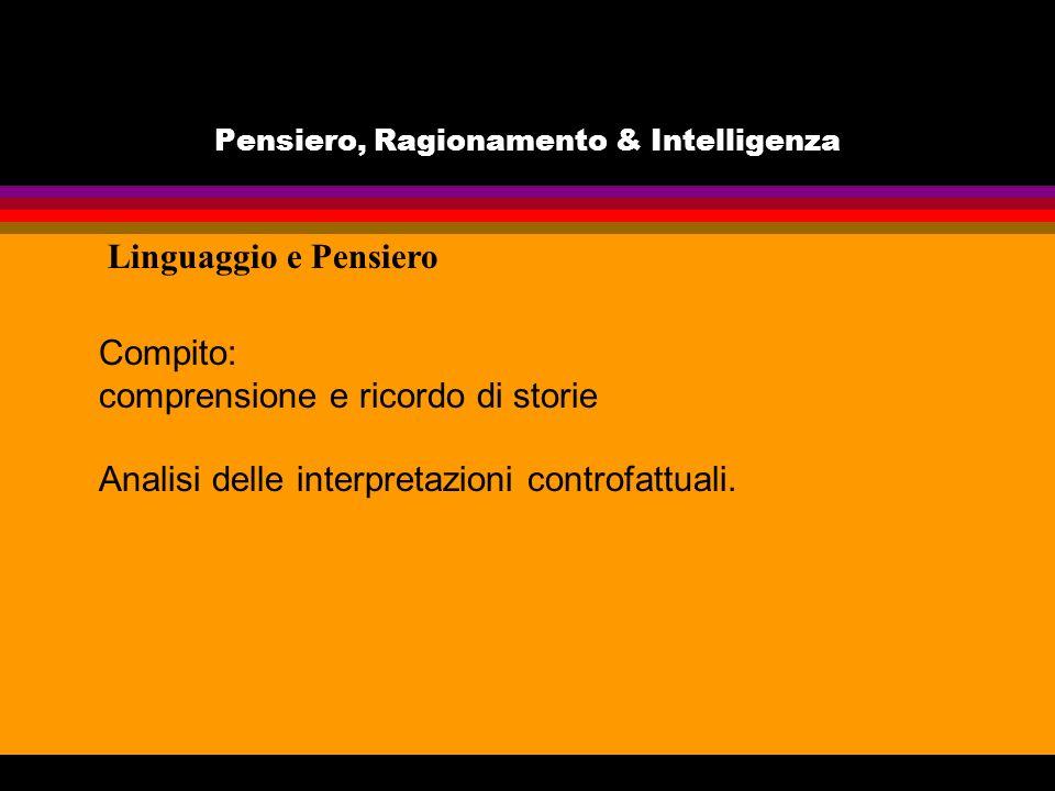 Pensiero, Ragionamento & Intelligenza Compito: comprensione e ricordo di storie Analisi delle interpretazioni controfattuali. Linguaggio e Pensiero