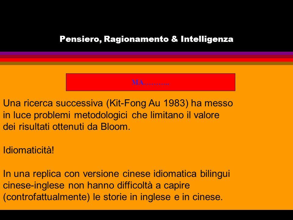 Pensiero, Ragionamento & Intelligenza MA……….. Una ricerca successiva (Kit-Fong Au 1983) ha messo in luce problemi metodologici che limitano il valore