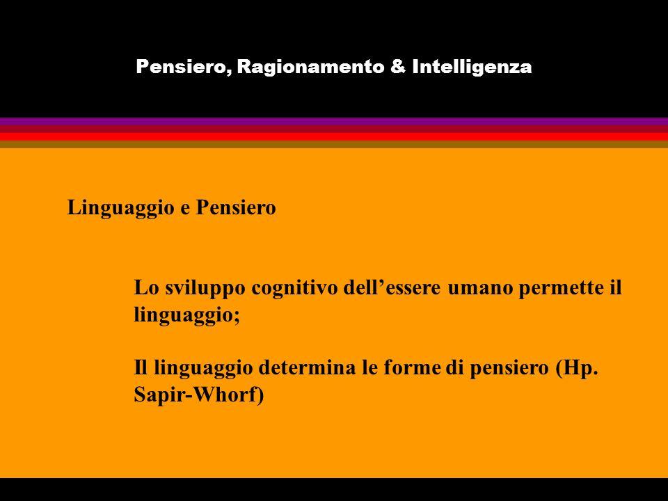 Pensiero, Ragionamento & Intelligenza Linguaggio e Pensiero Lo sviluppo cognitivo dellessere umano permette il linguaggio; Il linguaggio determina le