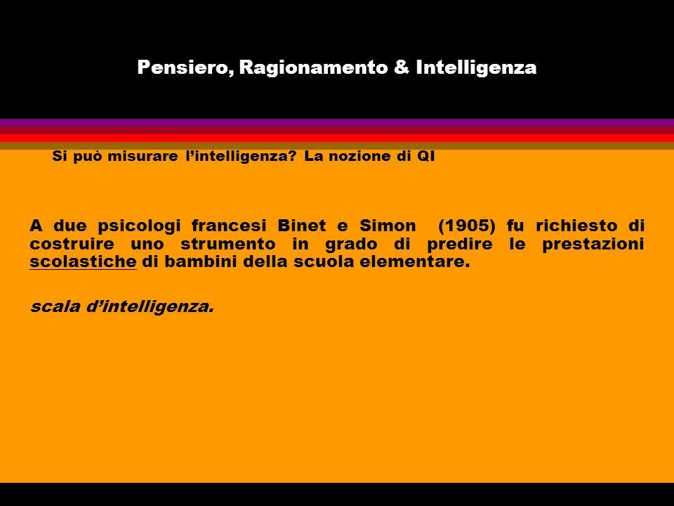 Pensiero, Ragionamento & Intelligenza Si può misurare lintelligenza? La nozione di QI A due psicologi francesi Binet e Simon (1905) fu richiesto di co