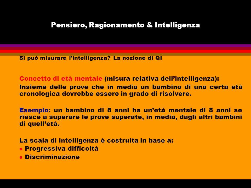 Pensiero, Ragionamento & Intelligenza Si può misurare lintelligenza? La nozione di QI Concetto di età mentale (misura relativa dellintelligenza): Insi