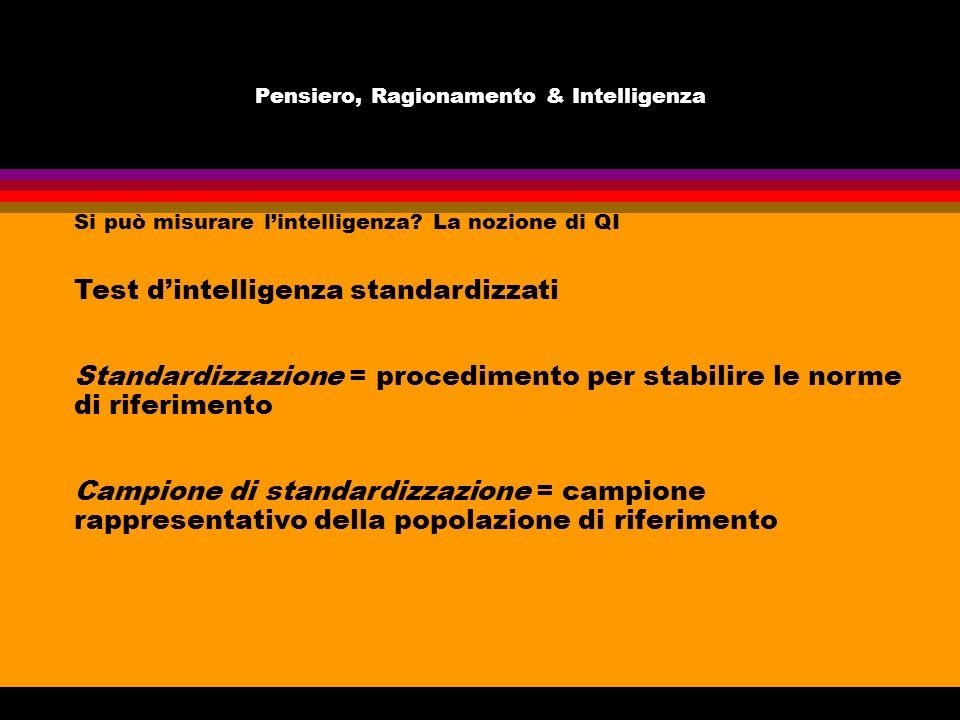 Pensiero, Ragionamento & Intelligenza Si può misurare lintelligenza? La nozione di QI Test dintelligenza standardizzati Standardizzazione = procedimen