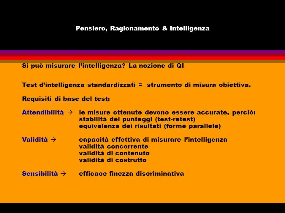 Pensiero, Ragionamento & Intelligenza Si può misurare lintelligenza? La nozione di QI Test dintelligenza standardizzati = strumento di misura obiettiv